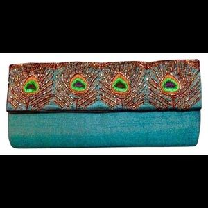 Two's Company satin beaded embroidered clutch